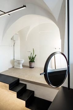 Israeli architect Pitsou Kedem has updated an apartment in the ancient port of Jaffa, Tel Aviv, adding arched windows and door frames that echo the form of the traditional vaulted ceilings. Toilet And Bathroom Design, Modern Bathroom, Bathroom Ideas, Architect House, Architect Design, Arched Windows, Windows And Doors, Old Jaffa, Pitsou Kedem