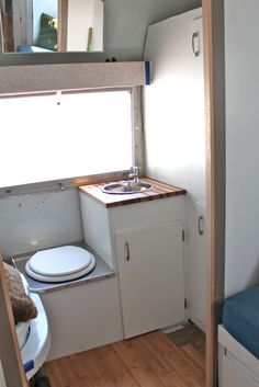Bathroom in remodeled 1966 AIrstream Trailer
