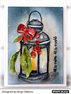 Penny Black Card 1 Lantern Cut Out Wreath Winter Berry Branch Christmas Sentiments Christmas Paintings On Canvas, Christmas Canvas, Christmas Art, Christmas Projects, Christmas Decorations, Vintage Christmas, Watercolor Christmas Cards, Watercolor Cards, Christmas Sentiments