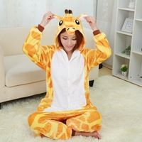 2015 New Flannel Pajamas Giraffe Pajamas For Women Nightgown Pijama Adult Giraffe Onesie Cute Women Pajama Sets