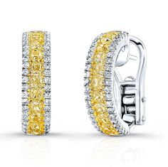 18K WHITE AND YELLOW GOLD CUSHION FANCY YELLOW CHANNEL SEMI-HOOP FASHION DIAMOND EARRINGS EMBEDDED WITH ROUND WHITE DIAMONDS, FEATURES 2.52 CARAT TOTAL WEIGHT
