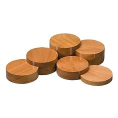 Set of 6 Natural Wood Risers Jewellery Display