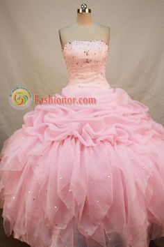Discount Ball gown Strapless Floor-Length Organza Pink Quinceanera Dresses Style FA-Y-114,Quinceanera Dresses, Quinceanera Gowns, Sweet 16 Dresses, Ball Gowns