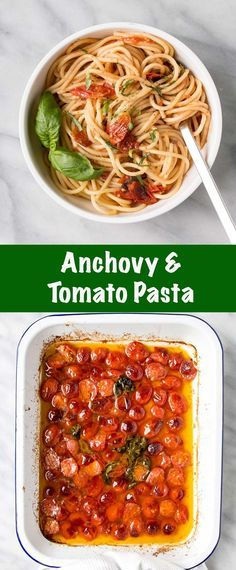 Silky Anchovy and Tomato Pasta. The anchovies dissolve and create a delicious sa… Silky Anchovy and Tomato Pasta. The anchovies dissolve and create a delicious salty base for this tomato heavy pasta sauce. Italian Pasta Recipes, Yummy Pasta Recipes, Dinner Recipes, Noodle Recipes, Delicious Recipes, Italian Foods, Amazing Recipes, Dessert Recipes, Dinner Dishes