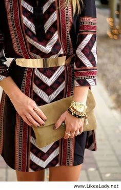 Aztec print dress with gold belt