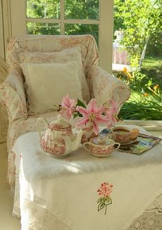 red toile, tea and a favorite magazine