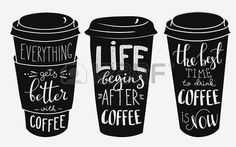 taza de cafe dibujo: letras de la cita la taza de café de forma fija. Caligrafía estilo de las comillas café. cafetería motivación promoción. Gráfico Diseño de la tipografía. Todo mejora con el café. La vida comienza después del café.