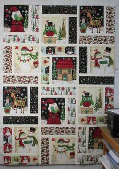 fabric crafts Christmas quilt blocks - How to Make a Christmas Panel Quilt Spring Arts And Crafts, Arts And Crafts For Adults, Easy Arts And Crafts, Crafts For Seniors, Arts And Crafts Storage, Arts And Crafts Projects, Art Crafts, Home Crafts, Sewing Projects