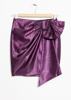 & Other Stories image 1 of Metallic Skirt With Side Tie in Purple