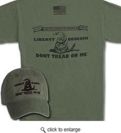 Gadsden and Culpeper - Don't Tread On Me Shirt Outfitter - The Liberty Or Death Don't Tread On Me - Culpeper Minutemen shirt and hat. Military Wife, Military Green, Man Stuff, Cool Stuff, Dont Tread On Me, Cool Shirts, Larry, Liberty, Things I Want