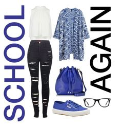 """""""School #1 #navyblue"""" by camillaschmid ❤ liked on Polyvore featuring 2LUV, Superga, H&M, Proenza Schouler and Muse"""