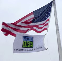 Donate Life flags often fly outside of hospitals to honor a recent organ and tissue donor. #donatelife