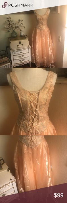 """🌵ASPEED vintage royalty prom dress Peach colored vintage prom dress New with tags. Size 3  Made in the USA In great condition 100% polyester / 100% acetate  Bust 32"""" Waist 27"""" Aspeed Dresses Prom"""