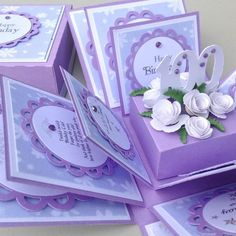A Square Exploding Birthday Box for a Special Milestone Birthday. Available from age 18 through to 100 These are Generic Birthday Boxes in a preset DESIGN with Generic Birthday Messages and an age-related centrepiece decorated with coordinating flowers & Golden Wedding Anniversary, Anniversary Gifts, Birthday Box, Birthday Gifts, Special Birthday Cards, Milestone Birthdays, Birthday Messages, Keepsake Boxes, Exploding Boxes