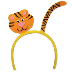 Tiger Headband (1).  This fun Tiger Headband has a felt tiger head and tail attached at the top!  Great item for party guests to wear at a jungle, safari, circus or zoo themed birthday party  price is per (1) headband