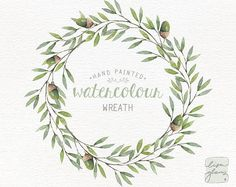 Watercolor wreath: painted floral wreath clipart / Wedding invitation clip art / acorn wreath / commercial use /winter forest wreath CM0085d