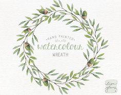 Watercolor wreath: PNG floral wreath clipart / flower wreath