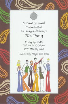 70s party invite 70s party Birthdays and Retro party themes