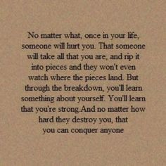 ...You'll learn that you're stong, and no matter how hard they destroy you, that you can conquer anyone.