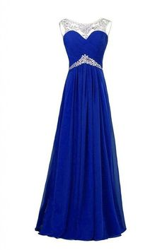 2015 Royal Blue Prom Dresses A Line Aqua Sparkly Beads With Cap Sleeves Long…