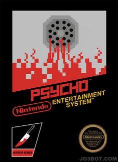 Carteles de películas de Alfred HItchcock en formato Nintendo: Psicosis Alfred