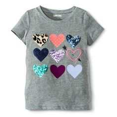 Girls'  Embroidered Hearts Tee, $8, Target. #backtoschoolideas #backtoschooloutfits #backtoschoolbulletinboards Part of the Complete Back to School Wardrobe for Girls.  beautymommy.com