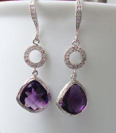 Purple dangle earrings / Wedding jewelry / by 2010louisek7 on Etsy, $38.00