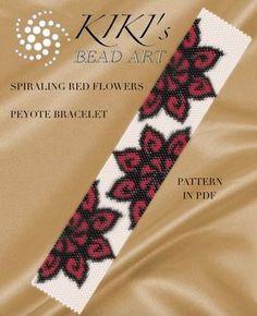 Peyote pattern for bracelet Spiraling red by KikisBeadArts