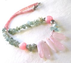 Pink Quartz and Adventurine Necklace by guarnaccia on Etsy