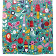 Boho Colorful Fun Bird Pattern shower curtain - #boho #bathroom #bathroomdecor