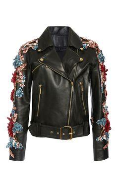 Embellished Leather Jacket by ELIE SAAB for Preorder on Moda Operandi