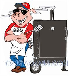 BBQ Smoker Clip Art Free | Pig Chef leaning on BBQ Smoker | Photos and Images | Clip Art