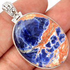 Orange-Sodalite-925-Sterling-Silver-Pendant-Jewelry-SP174751
