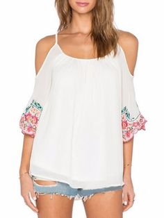 Bohemian Embroidery Fantastic Off Shoulder Round Neck Long Sleeve T-shirts