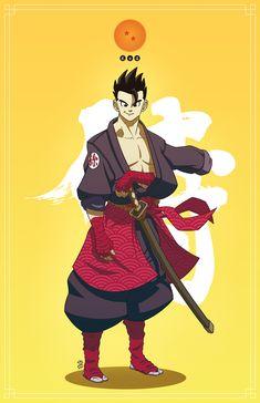 Dragon Ball : Bushido (part on Behance Dragon Ball Z, Dragonball Anime, Samurai, Character Art, Character Design, Ssj3, Naruto, Sasuke, Avengers