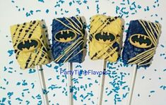 It's a party in Gotham City! These must have Batman chocolate covered rice krispies treats make great party favors. Each chocolate rice krispies treat is placed into a cello bag and tied with color ribbon of your choice. Rice krispie treats can be customized to suit your color scheme or theme. Please note sold by the dozen (12). Chocolate Rice Krispies, Rice Krispie Treats, Party Treats, Party Favors, Superhero Birthday Party, 4th Birthday, Birthday Ideas, Bake Sale, Chocolate Covered