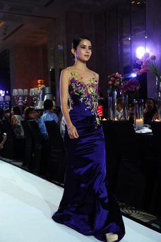 Blue evening gown with floral applique, illusion neckline and gorgeous back   Divine Couture 2014 Bridal Evening Gown Collection