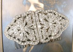 Antique Wedding Hair Comb, 1920s Vintage Bridal Headpiece Rhinestone Dress Clips Large OOAK Accessory Gatsby Art Deco Hairpiece Downton by AmoreTreasure