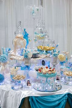 Turquoise & Champagne Candy Buffet. Perfect for any event!
