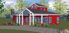 Elevation of Cabin   Cottage   Southern   House Plan 72329