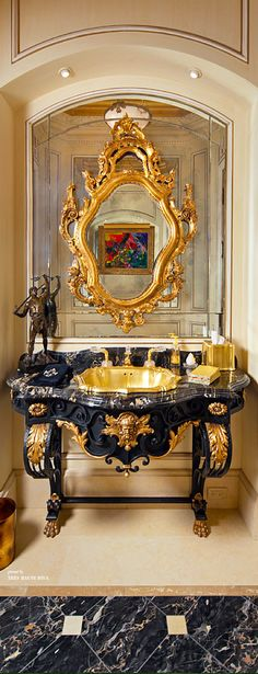 ♔ FRENCH ANTIQUE VANITY POWER ROOM WITH 24K GOLD/ONYX DROP IN SINK https://www.pinterest.com/moonshooter1