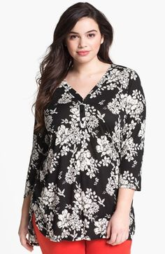 Evans Print V-Neck Top (Plus) available at #Nordstrom