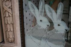 23: display easter hares rabbits sticker window - helen birch