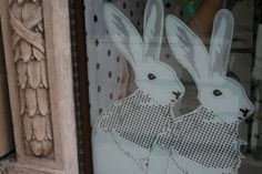 23: display easter hares rabbits sticker window - helen birch