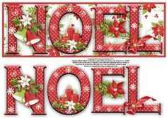 Christmas Linen Noel Large Dl Card with Decoupage