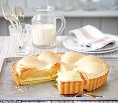 Pear and Lemon Curd Tart ~ with cream cheese & fresh fruit Mary Berry Lemon Curd, Lemon Curd Pie, Lemon Curd Recipe, Tart Recipes, Fruit Recipes, Sweet Recipes, Dessert Recipes, Dessert Tarts, Bbc Recipes