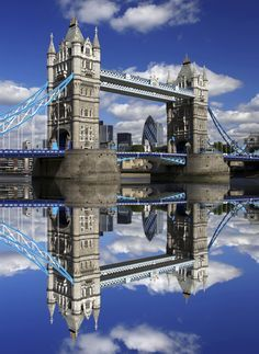 London's Tower Bridge on a clear summer day.