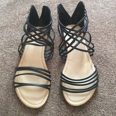 Black gladiator sandals ! Only worn once! Too small on me Shoes Sandals