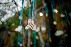 Wooden heart wishing tree