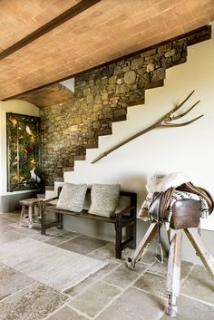 Stone wall with contrasting white staircase